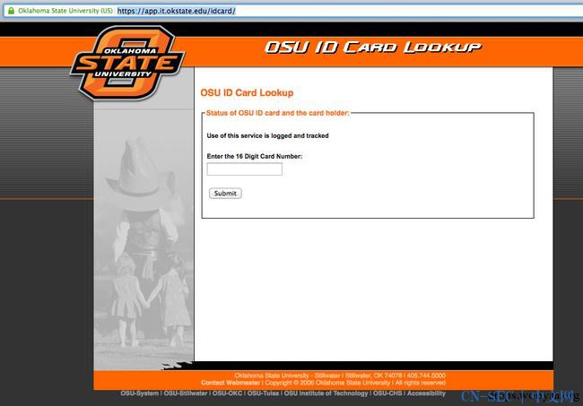 黑掉俄克拉荷马州立大学的学生卡