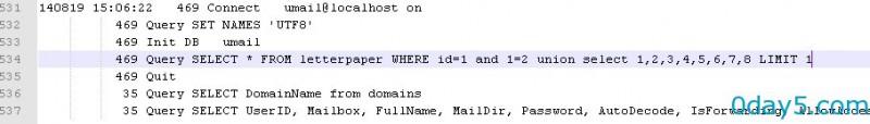 U-Mail邮件服务系统最新版SQL注入漏洞