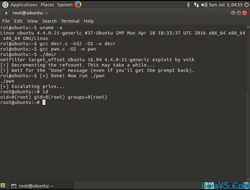 Ubuntu 16.04 local root exploit - netfilter target_offset OOB