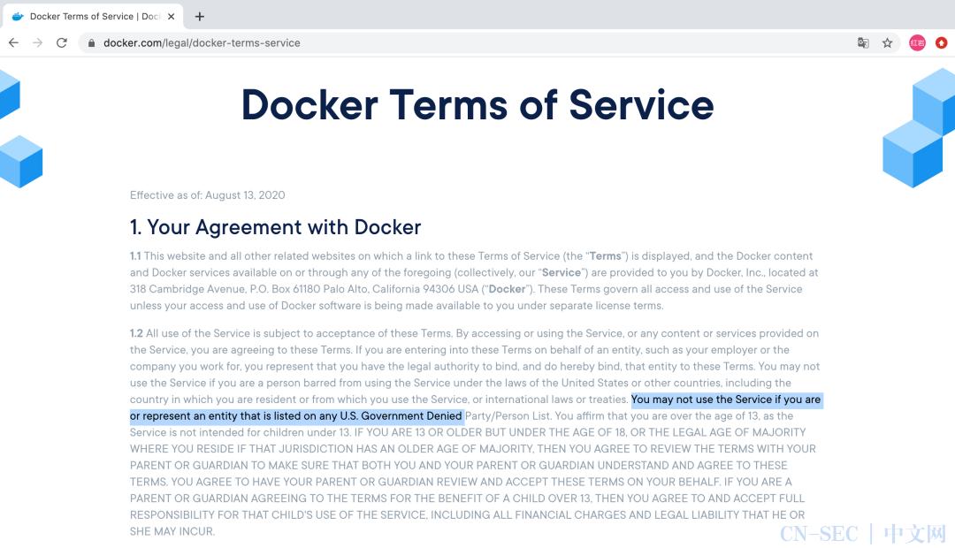 """Docker 禁止被列入美国""""实体名单""""的国家、企业、个人使用"""