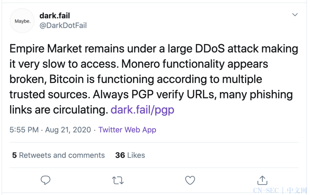 "Empire Market暗网巨头关闭数日,是DDoS还是""退场骗局""?"
