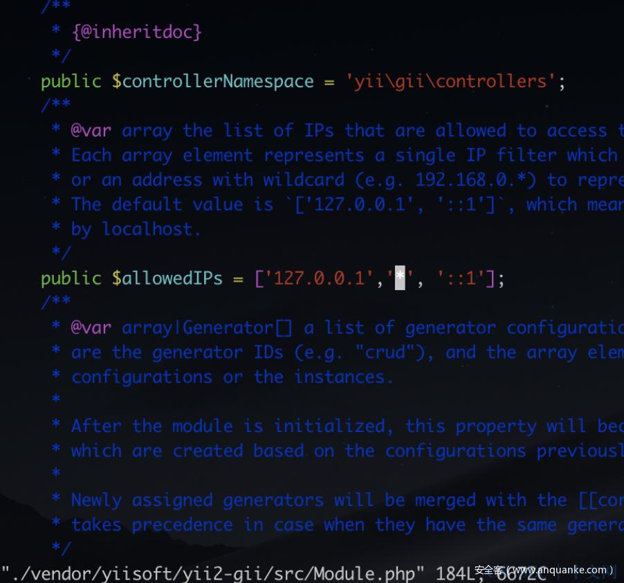 Yii2框架Gii模块 RCE 分析