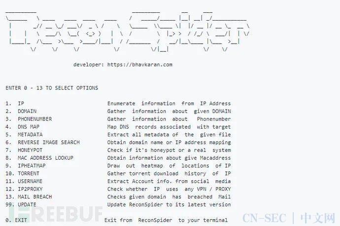 ReconSpider:一款功能强大的高级OSINT框架