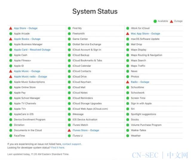 大量苹果高级服务中断,iPhone用户受到影响