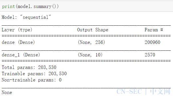 使用MLP多层感知器模型训练mnist数据集