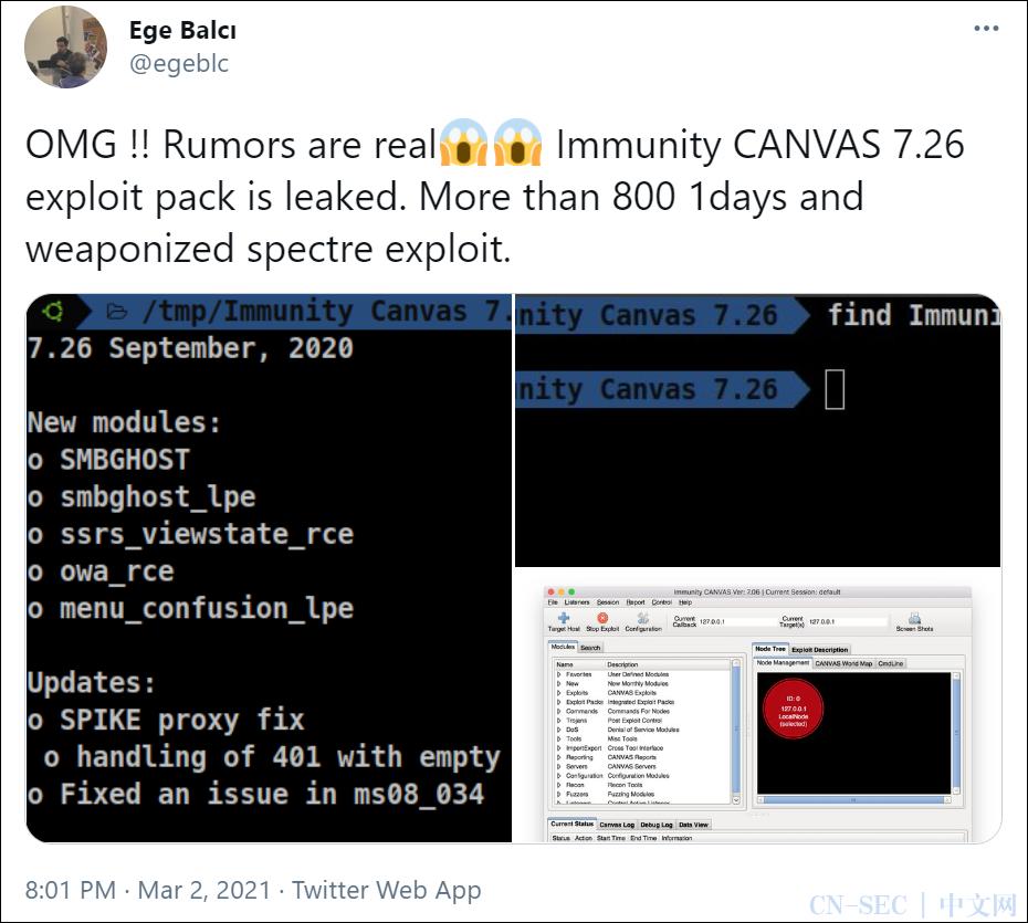 Immunity Canvas 7.26泄露事件概览