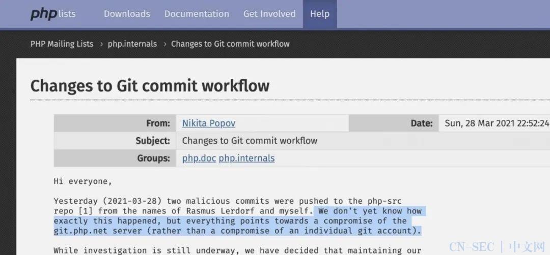 PHP官方Git服务器被黑,源码中被加入后门