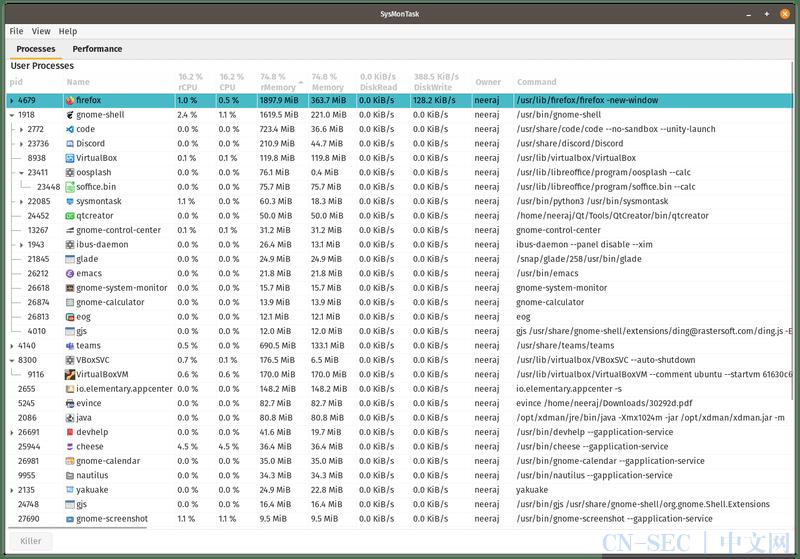 SysMonTask:一个类似于 Windows 任务管理器的 Linux 系统监控器 | Linux 中国