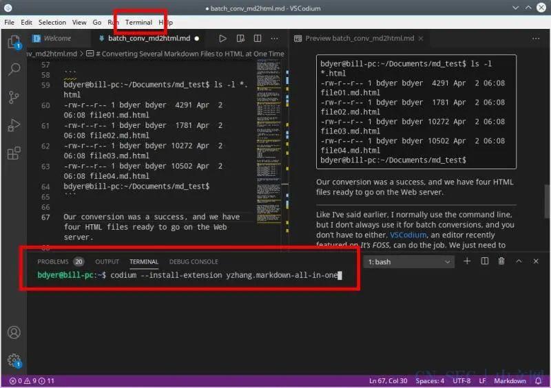 在 Linux 中把多个 Markdown 文件转换成 HTML 或其他格式 | Linux 中国