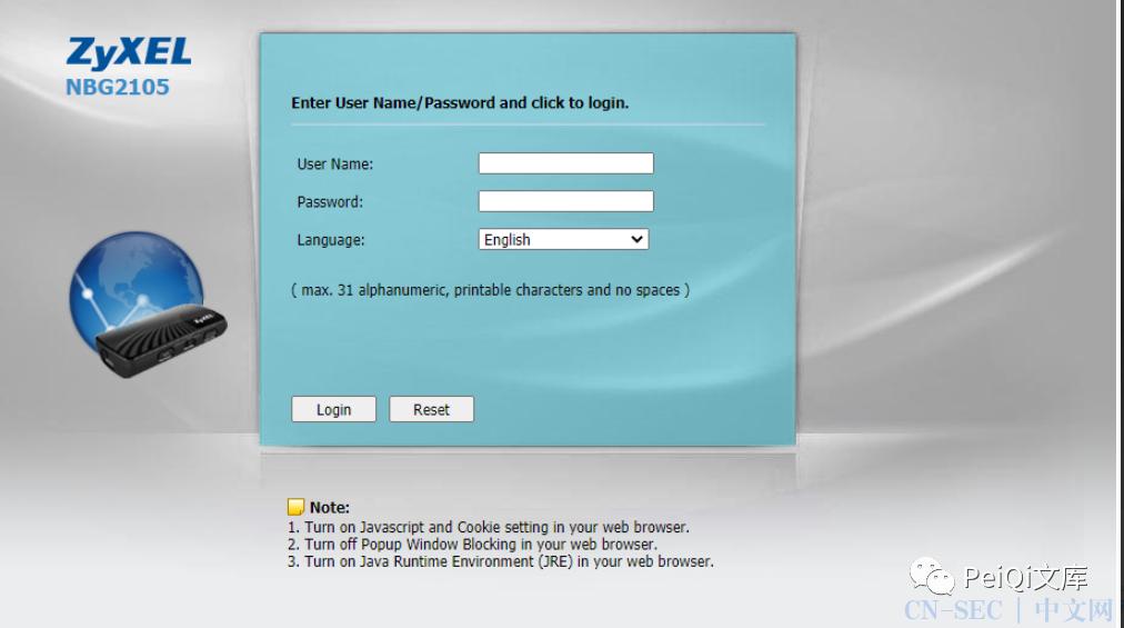 Zyxel NBG2105 身份验证绕过 CVE-2021-3297