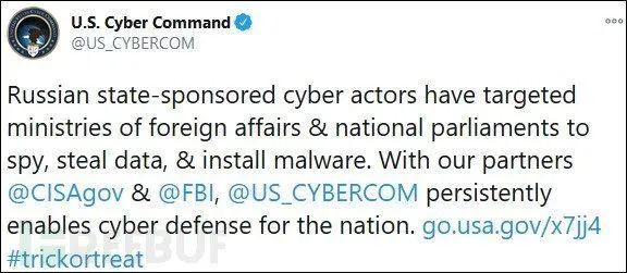 美国公布俄罗斯黑客用于攻击议会、大使馆的恶意软件信息
