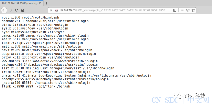 Apache Flink漏洞(CVE-2020-17519)复现