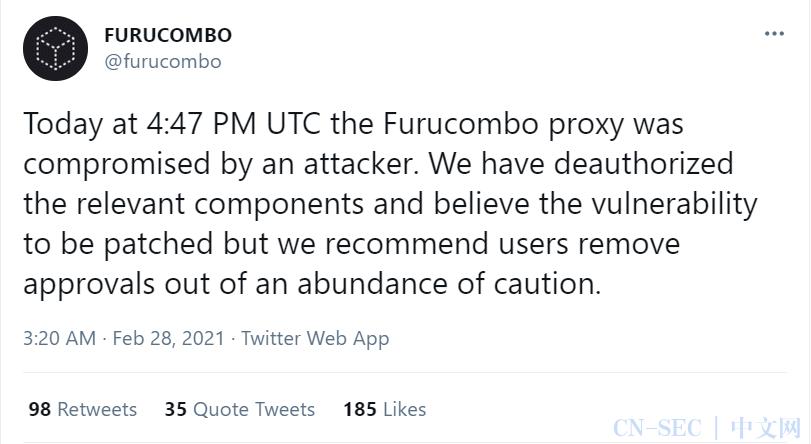 可避天灾,难免人祸 —— Furucombo 被黑分析