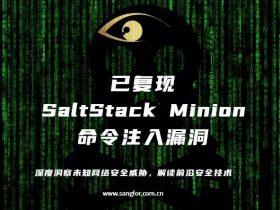 【漏洞更新】SaltStack Minion 命令注入漏洞,已复现
