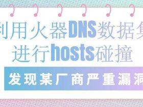 利用火器DNS数据集进行hosts碰撞, 发现某厂商严重漏洞